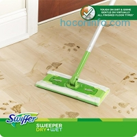 ihocon: Swiffer Sweeper Cleaner Dry and Wet Mop Starter Kit for Cleaning Hardwood and Floors, Includes: 1 Mop, 7 Dry Cloths, 3 Wet Cloths 乾濕兩用拖把