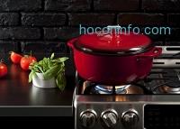 ihocon: Lodge EC7D43 Enameled Cast Iron Dutch Oven, 7.5-Quart, Island Spice Red