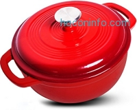 ihocon: Enameled Cast Iron Dutch Oven – Red Color with Lid, 3.2-quart - by Utopia Kitchen