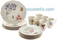 ihocon: Lenox Butterfly Meadow 18-Piece Dinnerware Set(Service for 6)餐盤組