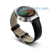 ihocon: Huawei Watch Stainless Steel with Black Suture Leather Strap (U.S. Warranty)