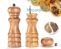ihocon: HILLPOW Natural Oak Wood Pepper Mill,Adjustable Salt and Pepper Grinder 6 inches, Pack of 2
