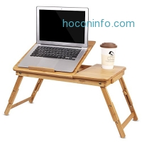 ihocon: HOMFA Bamboo Laptop Desk / Breakfast Serving Bed Tray with Tilting Top Drawer 床上電腦桌/餐桌