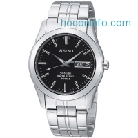 ihocon: SEIKO Sapphire Black Dial Stainless Steel Men's Watch