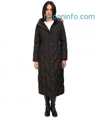 ihocon: London Fog Mix Quilted Maxi Coat with Fur Hood