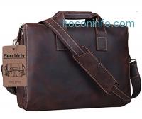 ihocon: Berchirly Men's Premium Retro Laptop Leather Briefcase真皮公事包