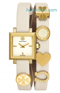 ihocon: TORY BURCH 'Saucy' Double Wrap Leather Strap Watch