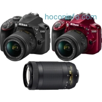 ihocon: Nikon D3400 24.2MP DSLR Camera + 18-55 VR & 70-300m Lenses Bundle (Manufacturer refurbished)