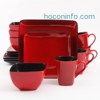 ihocon: Better Homes and Gardens Rave 16-Piece Square Dinnerware Set, Red
