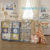 ihocon: Lolli Living Woods 4-Piece Crib Bedding Set – Colorful Bedding Coordinates For Baby Nursery, Made From Lightweight, Breathable Premium Cotton, Fits Standard Crib