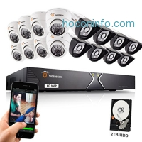 ihocon: TIGERSECU AHD 720P 960P 960H 16-Channel Security DVR System, 2TB Hard Drive - 8 1.3mp Outdoor Bullet and 8 Indoor Dome Cameras 居家防盜監視系統