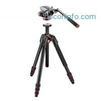 ihocon: Manfrotto  190Go! 4-Section Aluminum Tripod Black W/Manfrotto MVH502AH Video Head 三腳架