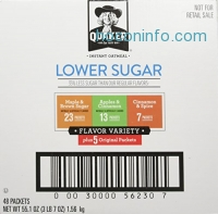 ihocon: Quaker Instant Oatmeal, Lower Sugar, Variety Pack, Breakfast Cereal, 48 Counts