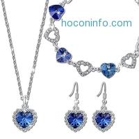 ihocon: QianseHeart of the Ocean Pendant Necklace Bracelet Earring Jewelry Set Made with SWAROVSKI Crystal項鍊手鍊及耳環組