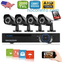 ihocon: Incosky 1080N AHD Video Security System 8CH DVR 4 2000TVL Weatherproof Cameras 65ft Night Vision 1TB HDD 居家防盜監視系統