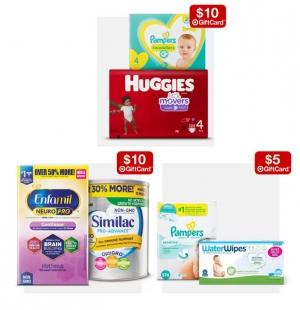 Target: 尿片, 奶粉及濕巾 買2送 Gift Card!