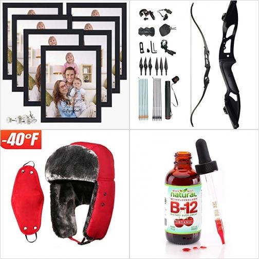 [Amazon折扣碼] 8×10相框, 弓箭, 護耳保暖帽含口罩, 有機B12滴劑 額外折扣!