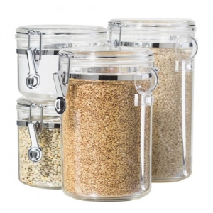 ihocon: Oggi 4-Piece Acrylic Canister Set with Airtight Lids and Acrylic Spoons-Set Includes 1 each 28oz, 38oz, 59oz, 72oz 食物保存罐