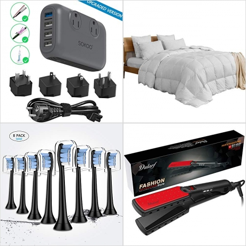 [Amazon折扣碼] 220V to 110V電壓轉換器 , 600 Fill羽絨被含純棉被套, 電動牙刷刷頭 , 直髮電棒 額外折扣!