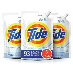 ihocon: Tide Free and Gentle HE Laundry Detergent, 3 Pack of 48 oz. Pouches, 93 Loads 洗衣精補充包