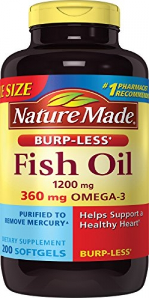 ihocon: Nature Made Burpless Fish Oil 1200 mg  w. Omega-3 360 mg Softgels Value Size 200 Ct 魚油