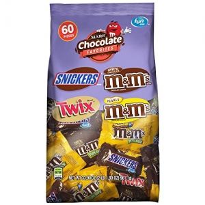 ihocon: Snickers, M&M'S & Twix Fun Size Candy Variety Mix, 60 Pieces綜合巧克力糖