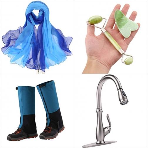 [Amazon折扣碼] 女士絲巾, 玉石臉部按摩滾輪及刮砂板, 防水褲套, 廚房水龍頭 額外折扣!