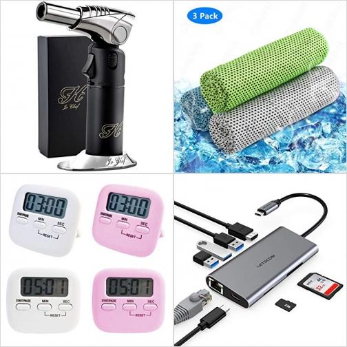 [Amazon折扣碼] 廚用噴火槍, 運動涼巾, 電子計時器, USB C Hub 額外折扣!