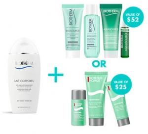 法國知名護膚品Biotherm碧歐泉: 購物就送身體乳 + 滿$80再加送女士或男士保養套裝組