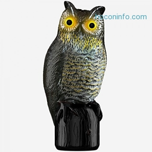 ihocon: Hoont Garden Scarecrow Owl with Frightening Sound and Scary Flashing Eyes Pest Repellent – Motion Activated and Solar Powered – Realistic Look Repels All Pests; Birds, Squirrels, Etc. [UPGRADED]