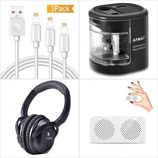 [Amazon折扣碼] jPhone充電線, 電動削鉛筆機, 主動消噪有線耳機, 迷你藍芽Speaker 額外折扣!