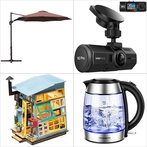 [Amazon折扣碼] 10呎遮陽傘, 雙鏡頭行車記錄器, DIY自行組合娃娃屋, 玻璃電熱水瓶 額外折扣!