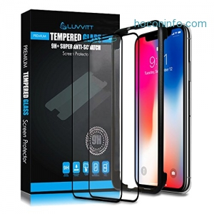 ihocon: Luvvitt iPhone X Tempered Glass Screen Protector(2 Pack) with Application Tool強化玻璃螢幕保護屏