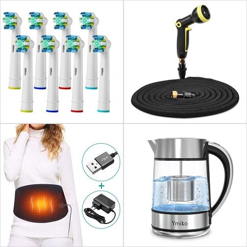 [Amazon折扣碼] 電動牙刷刷頭, 伸縮澆花水管, 腰/ 腹電熱敷帶, 玻璃電熱水瓶 額外折扣!