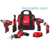 ihocon: Milwaukee M12 12-Volt Lithium-Ion Cordless Combo Kit (5-Tool) with (2)1.5Ah Batteries, Charger and Tool Bag