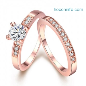 ihocon: Swarovski Crystal 2 Piece Band and Ring Set in 18K Gold Plated