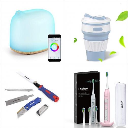 [Amazon折扣碼] 智能精油擴香機, 可壓扁隨身馬克杯, 3合1折疊鋸及美工刀, 電動牙刷 額外折扣!