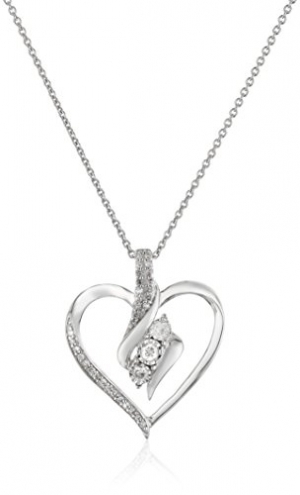 ihocon: Sterling Silver Diamond 3 Stone Heart Pendant Necklace (1/4 cttw), 18 純銀鑽石項鍊