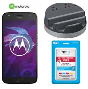 ihocon: Motorola Moto X (4th Gen) 5.2 32GB 4G LTE Unlocked GSM Android Smartphone + Ventev Desktop Charging Hub + Net10 SIM Activation Kit