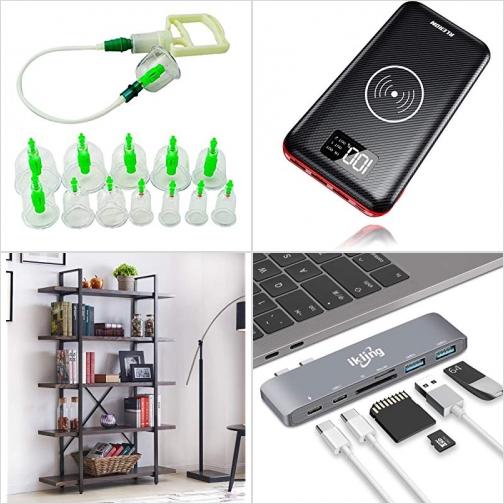 [Amazon折扣碼] 拔罐器, 無線充電行動電源/充電寶, 五層置物架, USB Type C Hub Adapter 額外折扣!