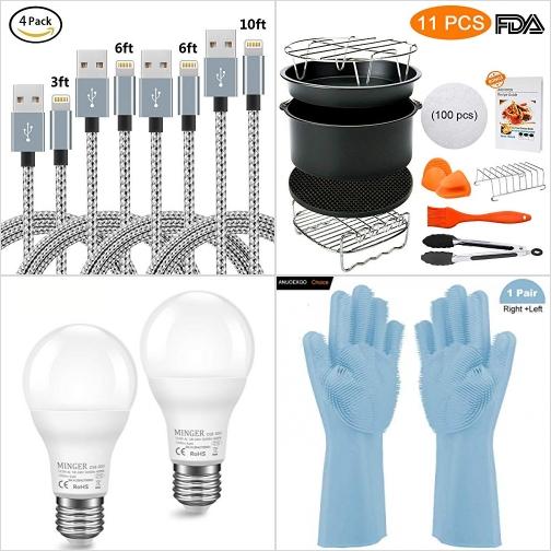 [Amazon折扣碼] iPhone充電線, 氣炸鍋配件, 光線感應自動開關LED燈泡, 刷刷洗碗手套 額外折扣!