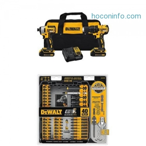 ihocon: DEWALT DCK277C2 20V MAX Compact Brushless Drill and Impact Combo Kit and IMPACT READY FlexTorq Screw Driving Set, 40-Piece