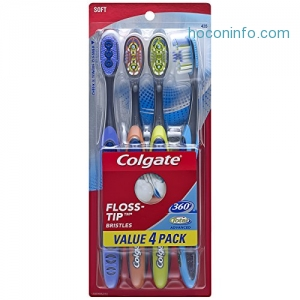 ihocon: Colgate 360 Total Advanced Floss-Tip Slim Toothbrush, Soft (4 Pack)