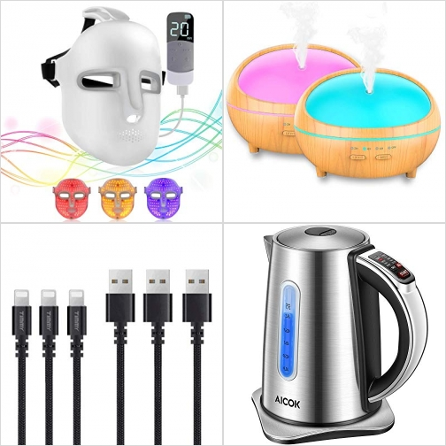 [Amazon折扣碼] LED光療面罩, 精油擴香機, iPhone充電線, 不銹鋼電熱水瓶 額外折扣!