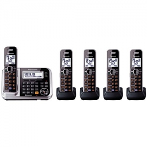 ihocon: Panasonic Bluetooth Cordless Phone KX-TG7875S Link2Cell with Enhanced Noise Reduction & Digital Answering Machine - 5 Handsets (Black/Silver) 藍牙無線電話系統, 含答錄功能