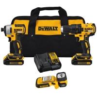 [今日特賣] DEWALT 無線工具組: Drill/Driver + Light 3工具+2個電池+充電器 + 收納袋 $149免運(原價$269, 45% Off)