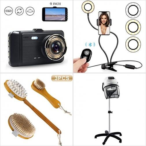 [Amazon折扣碼] 行車記錄器, 手機補光/自拍固定架, 豬鬃洗澡/洗臉刷, 專業頭髮烘乾機 額外折扣!