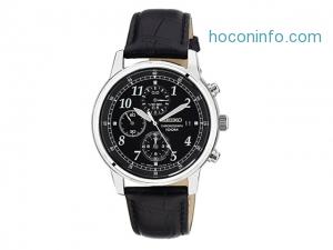 ihocon: Seiko Chronograph Black Dial Black Leather Men's Watch
