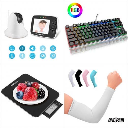 [Amazon折扣碼] 嬰兒監看器, 小型機械遊戲鍵盤, 廚用電子秤, 防曬臂套 額外折扣!