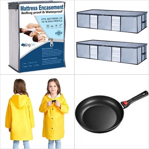 [Amazon折扣碼] 防水床墊保護罩, 床下收納袋, 兒童雨衣, 11吋不沾鍋 額外折扣!